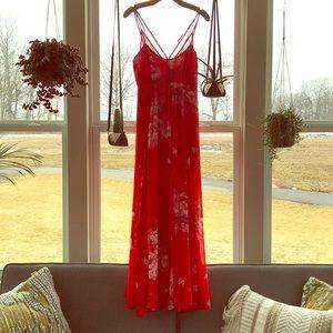 Free People Red Chiffon Maxi Dress